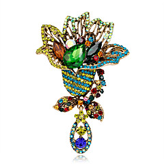 cheap Pins and Brooches-Women's Girls' Brooches Handmade Euramerican Fashion Rhinestone Glass Alloy Flower Assorted Color Jewelry For Special Occasion