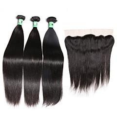 お買い得  ヘアエクステンション-マレーシアンヘア ストレート 閉鎖が付いている毛横糸 閉鎖した3つのバンドル 8-26インチ 人間の髪織り フロントレース / 4X13閉鎖 ソフト / 4a ブラック