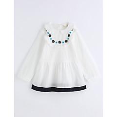 baratos Roupas de Meninas-Para Meninas Camisa Côr Sólida Treliça Outono Algodão Manga Longa Branco