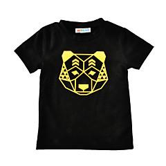 baratos Roupas de Meninos-Bébé Para Meninos Estampado Manga Curta Padrão Algodão Camiseta Preto