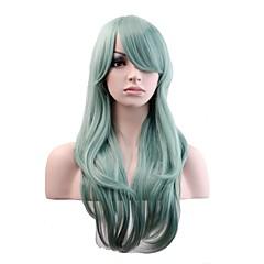 billige Kostymeparykk-Syntetiske parykker / Kostymeparykker Naturlige bølger Syntetisk hår Parykk Dame Lang Lokkløs Mynte Grønn
