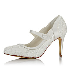cheap Wedding Shoes-Women's Shoes Net Satin Winter Fall Basic Pump Heels Stiletto Heel Pointed Toe Button for Wedding Dress Party & Evening Ivory