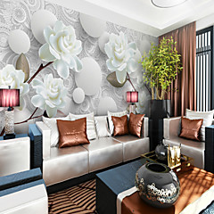 cheap Wall Art-White Peony Flower Custom 3D Large Wall Covering Mural Wallpaper Fit Coffee Room Bedroom Hotel