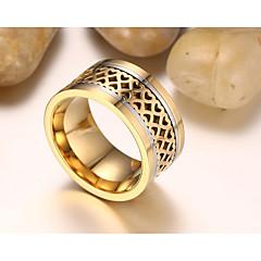 お買い得  指輪-男性用 バンドリング オリジナル ヴィンテージ ファッション チタン鋼 円形 コスチュームジュエリー 結婚式 婚約 日常 式典 パーティー