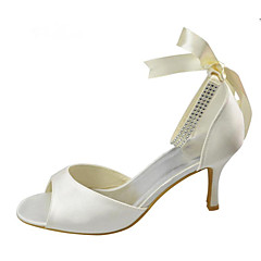 Women's Wedding Shoes Basic Pump Stretch Satin Summer Wedding Party & Evening Crystal Stiletto Heel Ivory White 3in-3 3/4in
