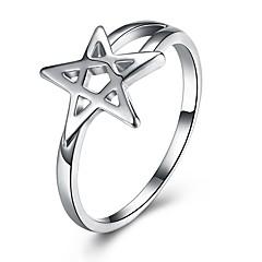 Naisten Nauhasormukset Love Muoti ylellisyyttä koruja minimalistisesta Classic Sterling-hopea Star Shape Korut KäyttötarkoitusHäät Party