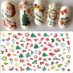 1pcs Christmas Nail Art 3D Sticker Decals Happy Xmas Santa Claus Cute Deer Christmas Tree Design F271