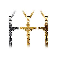 Miesten Riipus-kaulakorut Cross Shape Titaaniteräs Muoti Risti Personoitu Hip-Hop Metallinen Korut KäyttötarkoitusParty Uusi vauva Katu