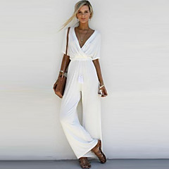 Women's Wide Leg Daily / Weekend V Neck White Black Pink Jumpsuit, Solid Colored Pleated M L XL High Rise Half Sleeve Spring Summer