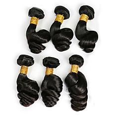 お買い得  ヘアエクステンション-ペルービアンヘア ルーズウェーブ 人間の髪編む 6バンドル 8-26インチ 人間の髪織り ブラック