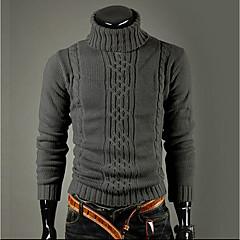 Herren Standard Pullover-Ausgehen Lässig/Alltäglich Arbeit Street Schick Solide Rollkragen Langarm Kunstseide Winter Dick Mikro-elastisch