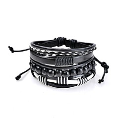 cheap -Men's Women's Leather Bracelet Jewelry Basic Bohemian Punk Hip-Hop Handmade Luxury Costume Jewelry Leather Circle Geometric Jewelry For