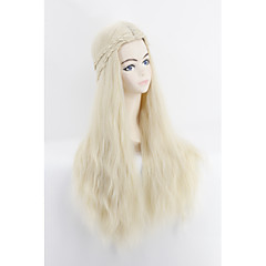 cheap Wigs & Hair Pieces-28 women long bleach blonde loose curl braided wig synthetic hair capless cosplay wig Halloween