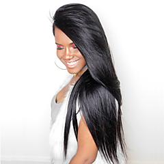 billiga Peruker och hårförlängning-Äkta hår Spetsfront Peruk Rak Densitet Naturlig hårlinje / Afro-amerikansk peruk / 100 % handbundet Dam Mellan / Lång Äkta peruker med hätta