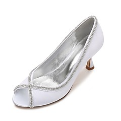 Dames bruiloft Schoenen Comfortabel Basispump Satijn Lente Zomer Bruiloft Formeel Feesten & Uitgaan Strass Sprankelend glitter Ketting