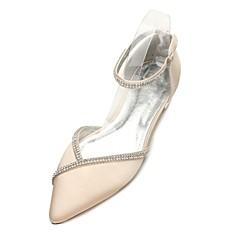 Feminino Sapatos Cetim Primavera Verão Conforto MaryJane D'Orsay Sapatos De Casamento Dedo Apontado Pedrarias Para Casamento Social