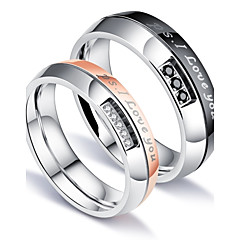 cheap Men's Rings-Men's AAA Cubic Zirconia Band Ring - Titanium Steel Luxury, Classic, Love, Fashion, Christmas Jewelry White For Party Birthday Gift Evening Party Date Street 5 / 6 / 7 / 8 / 9