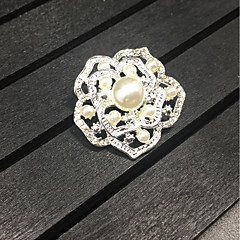 cheap Pins and Brooches-Women's Girls' Brooches Floral Alloy Roses Silver Jewelry For Wedding Party Gift Daily Evening Party