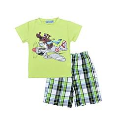 billige Tøjsæt til drenge-Baby Drenge Ternet Trykt mønster Kortærmet Normal Normal Bomuld Tøjsæt Lysegrøn