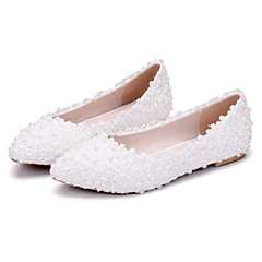 Womenu0027s Shoes PU(Polyurethane) Spring / Fall Comfort / Novelty Wedding  Shoes Flat Heel Pointed Toe Beading / Appliques White