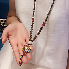 abordables -Homme Femme Forme Géométrique Personnalisé Mode Pendentif de collier Multi-pierre Bois Pendentif de collier , Quotidien