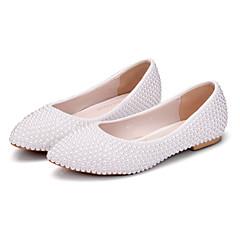 olcso -Női Cipő PU Tavasz Ősz Kényelmes Újdonság Esküvői cipők Erősített lábujj Gyöngy Kompatibilitás Esküvő Party és Estélyi Fehér