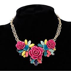 ieftine -Pentru femei Leaf Shape Floare Formă Floral Stil Floral Boem Flori Coliere Reșină Aliaj Coliere Petrecere Concediu Costum de bijuterii