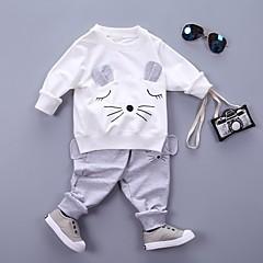 billige Tøjsæt til piger-Pige Ensfarvet / Patchwork / Anden Langærmet Normal Normal Bomuld Tøjsæt Hvid