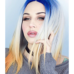 cheap Wigs & Hair Pieces-Synthetic Lace Front Wig Women's Straight Blue Synthetic Hair Natural Hairline Blue Wig Medium Length Lace Front Royal Blue Uniwigs