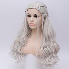 お買い得  人工毛ウィッグ-人工毛ウィッグ ウェーブ 密度 キャップレス 女性用 白 ハロウィンウィッグ ロング 合成