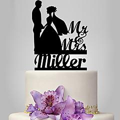 billige Kakedekorasjoner-Kakepynt Klassisk Tema Romantik Bryllup Klassisk Par Plast Bryllup med 1 Polyester Veske