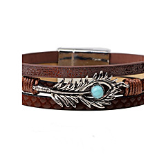 cheap -Men's Women's Leather Bracelet Fashion Vintage Leather Alloy Feather Peacock Jewelry For Casual Going out