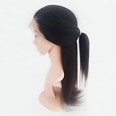 billiga Peruker och hårförlängning-Äkta hår Hel-spets Peruk Brasilianskt hår Kinky Rakt Peruk Med babyhår 130% Hårtäthet Afro-amerikansk peruk 100 % handbundet Dam Mellan Äkta peruker med hätta