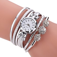 cheap -Women's Fashion Watch Bracelet Watch Simulated Diamond Watch Chinese Quartz Imitation Diamond PU Band Casual Bohemian Elegant Black White