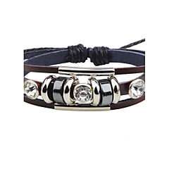 cheap -Men's Women's Leather Bracelet Cubic Zirconia Fashion Adjustable Leather Alloy Round Jewelry For Casual Going out