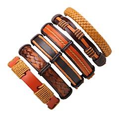 Herrn Damen Lederarmbänder Böhmen-Art Simple Style Leder Runde Form Schmuck Für Normal Ausgehen
