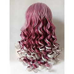 tanie Peruki syntetyczne-Syntetyczne koronkowe peruki Body wave Przedziałek na środku Szary Purpurowy Różowy Damskie Koronkowy przód cosplay peruka Długo Włosy