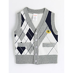 billige Overdele til drenge-Baby Drenge Ternet Ruder Uden ærmer Bomuld Undertrøje og cami-top