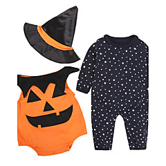 billige Sett med babyklær-Baby Børne Tøjsæt Halloween Festival Trykt mønster, Bomuldsblanding Alle årstider Langærmet Tegneserie Orange