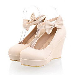 Womens Shoes PU Spring Fall Comfort Novelty Heels Wedge Heel Round Toe Bowknot Buckle For Wedding Party Evening Blushing Pink Blue