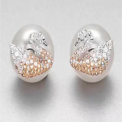 cheap Earrings-Women's Stud Earrings Rhinestone Luxury Hypoallergenic Pearl Sterling Silver Circle Jewelry White Gift Daily Costume Jewelry