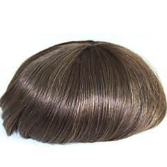 billiga Peruker och hårförlängning-6 tum remy mänsklig hår man toupee mänskligt hår toupee 8x10 inches mono bas män män stycke färg # 4