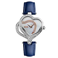 お買い得  レディース腕時計-SKMEI 女性用 ダミー ダイアモンド 腕時計 ユニークなクリエイティブウォッチ ファッションウォッチ 日本産 クォーツ 耐水 レザー バンド ぜいたく Heart Shape クリエイティブ カジュアル Elegant クール ブラック 白 ブルー レッド