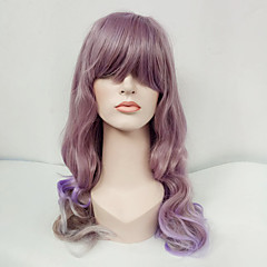 cheap Wigs & Hair Pieces-Synthetic Wig Women's Wavy Purple With Bangs Synthetic Hair Purple Wig Long Capless Lavender