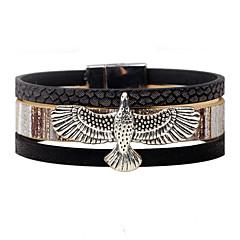 abordables -Homme Femme Bracelets en cuir Personnalisé Rétro Cuir Alliage Aigle Bijoux Décontracté Scène Bijoux de fantaisie Noir Gris Café