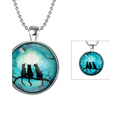 Men's Pendant Necklaces Jewelry Cat Silver Plated Animal Design Jewelry For Daily
