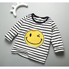 baratos Roupas de Meninos-Para Meninos Camiseta Riscas Outono Algodão Manga Longa Preto