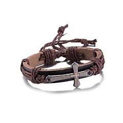 Men's Women's Leather Bracelet Friendship Punk PU Alloy Cross Jewelry For Daily Casual Stage Office & Career Street