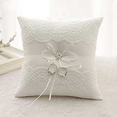 cheap Ring Pillows-Ribbon Rhinestone Flower(s) Bow Satin Silk Ring Pillows Wedding Ceremony