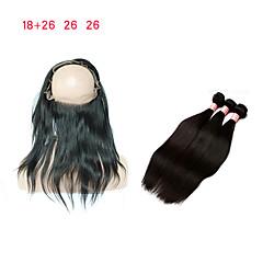 Χαμηλού Κόστους Εξτένσιος μαλλιών με φυσικό χρώμα-Περουβιανή Κλασσικά Remy Τρίχα 3 πακέτα με κλείσιμο Υφάνσεις ανθρώπινα μαλλιών 8α Μαύρο Επεκτάσεις ανθρώπινα μαλλιών / Ίσια